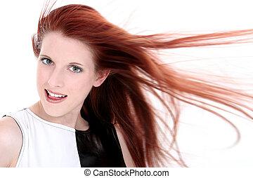 Teen Girl Close Up - Headshot of a beautiful young woman...