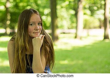 Teen girl closeup portrait in the P