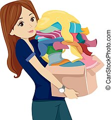 Teen Girl Clothes Donate Box - Illustration of a Teenage...