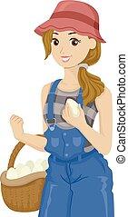 Teen Girl Collect Eggs Illustration