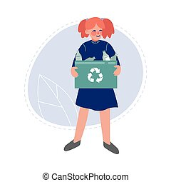 Teen Girl Collecting Plastic Bottles for Recycling, Volunteer Saving and Protecting the Environment from Pollution Vector Illustration