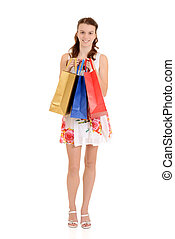 Teen girl colorful shopping bags