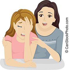 Teen Girl Comforting Friend - Illustration of a Teenage Girl...