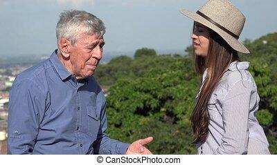 Teen Girl Complaining To Grandfather