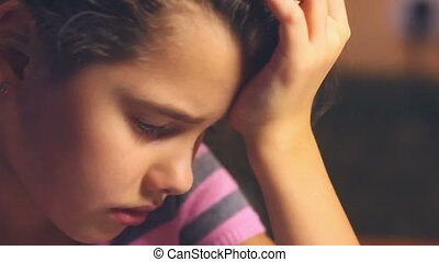 teen girl cries tears flow problems difficult childhood -...