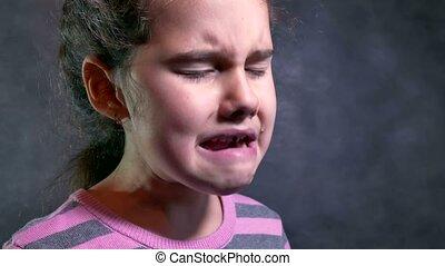 teen girl cries tears of sorrow flow problem