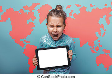 teen girl cry angry evil keep your tablet world map...