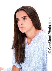 Teen Girl Crying - Beautiful dark haired teen girl in...