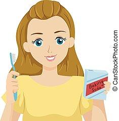 Teen Girl Diy Teeth Whitening Baking Soda