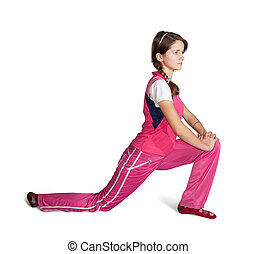 teen girl doing aerobics