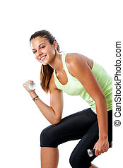 Teen girl doing bicep exercise.
