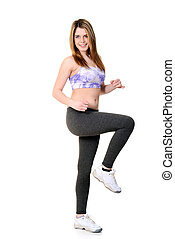 teen girl doing cardio workout