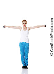 Teen girl doing exercises.