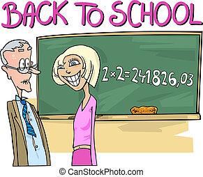 Teen Girl doing Mathematics Task - Back to School: Cartoon...