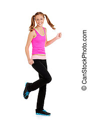 Teen girl doing zumba fitness