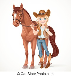 Teen girl dressed as a cowboy holds the reins saddled horse...