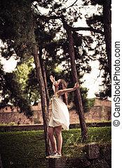 teen girl enjoy in park