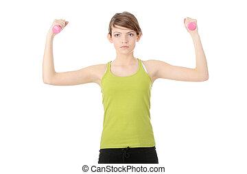 Teen girl exercising
