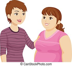 Teen Girl Fat Mother Illustration