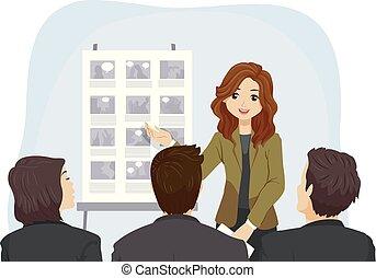 Teen Girl Film Present Story Board Illustration -...