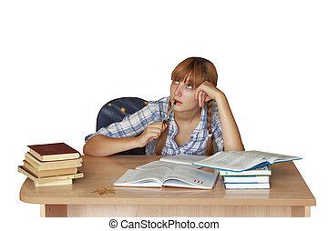 Teen girl for homework