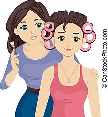 Teen Girl Friends Make Up Makeover