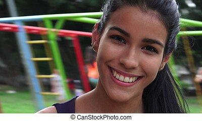 Teen Girl Fun At Playground