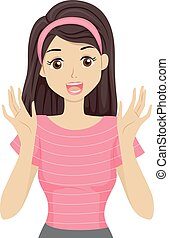 Teen Girl Gift Surprise Happy - Illustration of a Teenage...