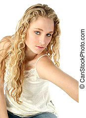 Teen Girl Glamour - Portrait of a beautiful blonde model...