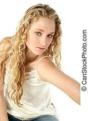 Teen Girl Glamour - Portrait of a beautiful blonde model...