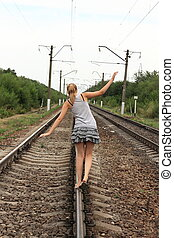 Teen girl goes on rails