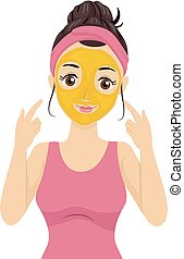 Teen Girl Gold Facial Mask Illustration