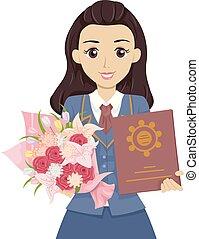 Teen Girl Graduate High School Bouquet Diploma