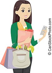 Teen Girl Grocery Shopping App - Illustration of a Teenage...