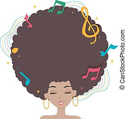 Teen Girl Hair Music - Illustration of a Black Woman with...