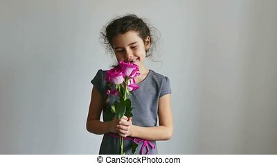 teen girl happy gives roses flowers - teen girl happy gives...