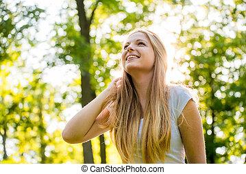 Teen girl - happy in nature