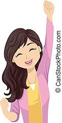 Teen Girl Happy Yes Pose Illustration