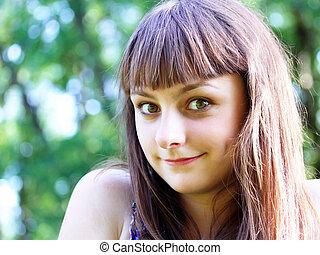 Teen girl having fun in the park