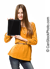 Teen girl having fun with tablet computer.