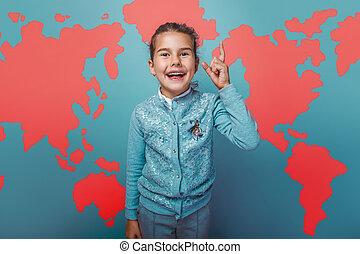 teen girl He raised his finger up idea world map education...