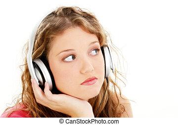Teen Girl Headphones - Beautiful Teen Girl Listening To...