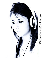 Teen Girl Headphones - Beautiful Teen Girl With Headphones...