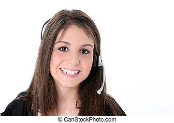 Teen Girl Headset - Beautiful teen girl with headset and big...