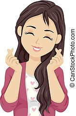 Teen Girl Heart Sign Hands Illustration