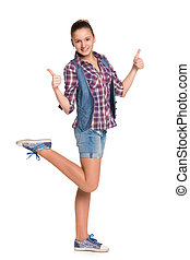 Teen girl holds her thumbs up