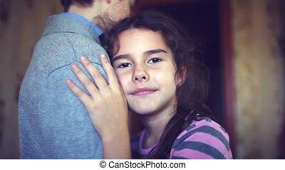 teen girl hugging a boy love protection trust - teen girl...