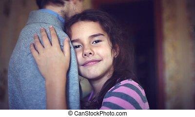 teen girl hugging boy love protection trust - teen girl...