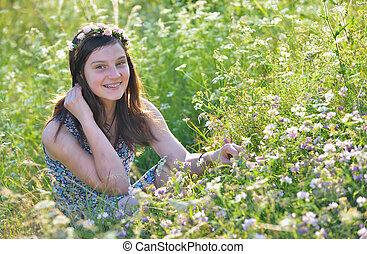 Teen girl in a field