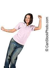 Teen girl in blank t-shirt and jeans